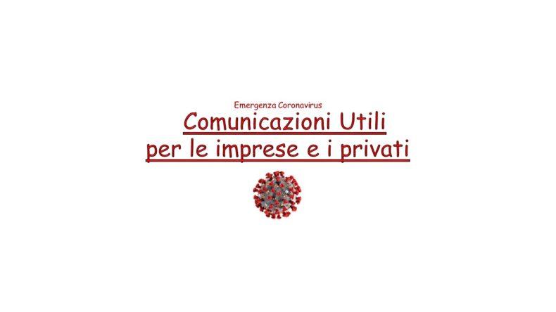 Emergenza Coronavirus  –  Comunicazioni utili per imprese e i privati