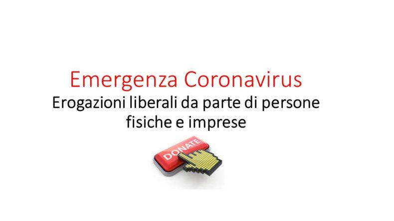 Emergenza Coronavirus -Erogazioni liberali da parte di persone fisiche e imprese
